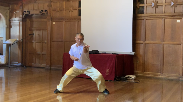 Shifu Liu punch in the form, at the Oxford event